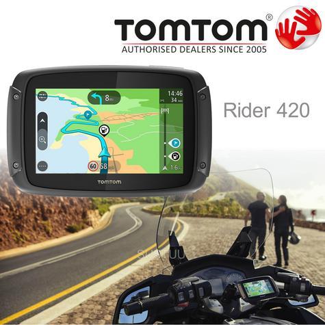 TomTom Rider 420 Motorcycle GPS-SatNav Navigation Bluetooth *Lifetime EU Map+Traffic+Camera Alerts Thumbnail 1