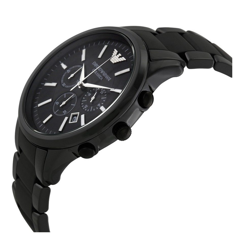 Emporio armani ceramica men 39 s watch black chronograph dial bracelet band ar1451 sustuu for Ceramica chronograph