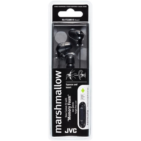 JVC New HAFX38MB Marshmallow In-Ear Headphone|Remote & Mic|iPhone/Android|Black Thumbnail 3
