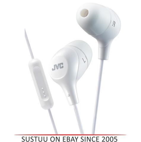 JVC HAFX38MW Marshmallow Custom Fit In-Ear Headphones With Remote & Mic - White Thumbnail 1