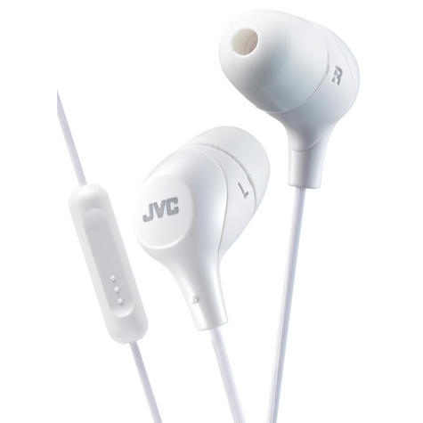 JVC HAFX38MW Marshmallow Custom Fit In-Ear Headphones With Remote & Mic - White Thumbnail 2