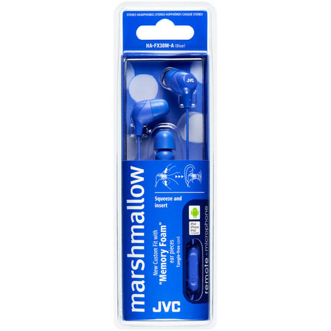 JVC Marshmallow Fit In-Ear Headphone With Remote & Mic for iPhone/Android - Blue Thumbnail 3