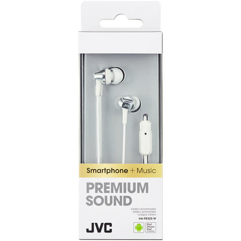 JVC HAFR325W Premium Sound Inner Ear Headphones With Remote And Mic - White Thumbnail 3