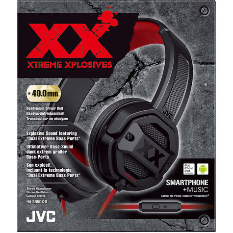 JVC HASR50XB Dual Extreme Bass Ports On Ear Headphones with Remote & Mic - Black Thumbnail 3