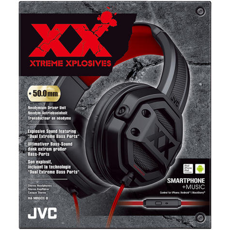 JVC HAMR60XB Dual Extreme Bass Ports On Ear Headphones with Remote & Mic - Black Thumbnail 3