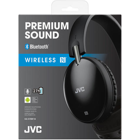 JVC HAS70BTBE Wireless Premium Sound Bluetooth Around Ear Headphones - Black Thumbnail 3