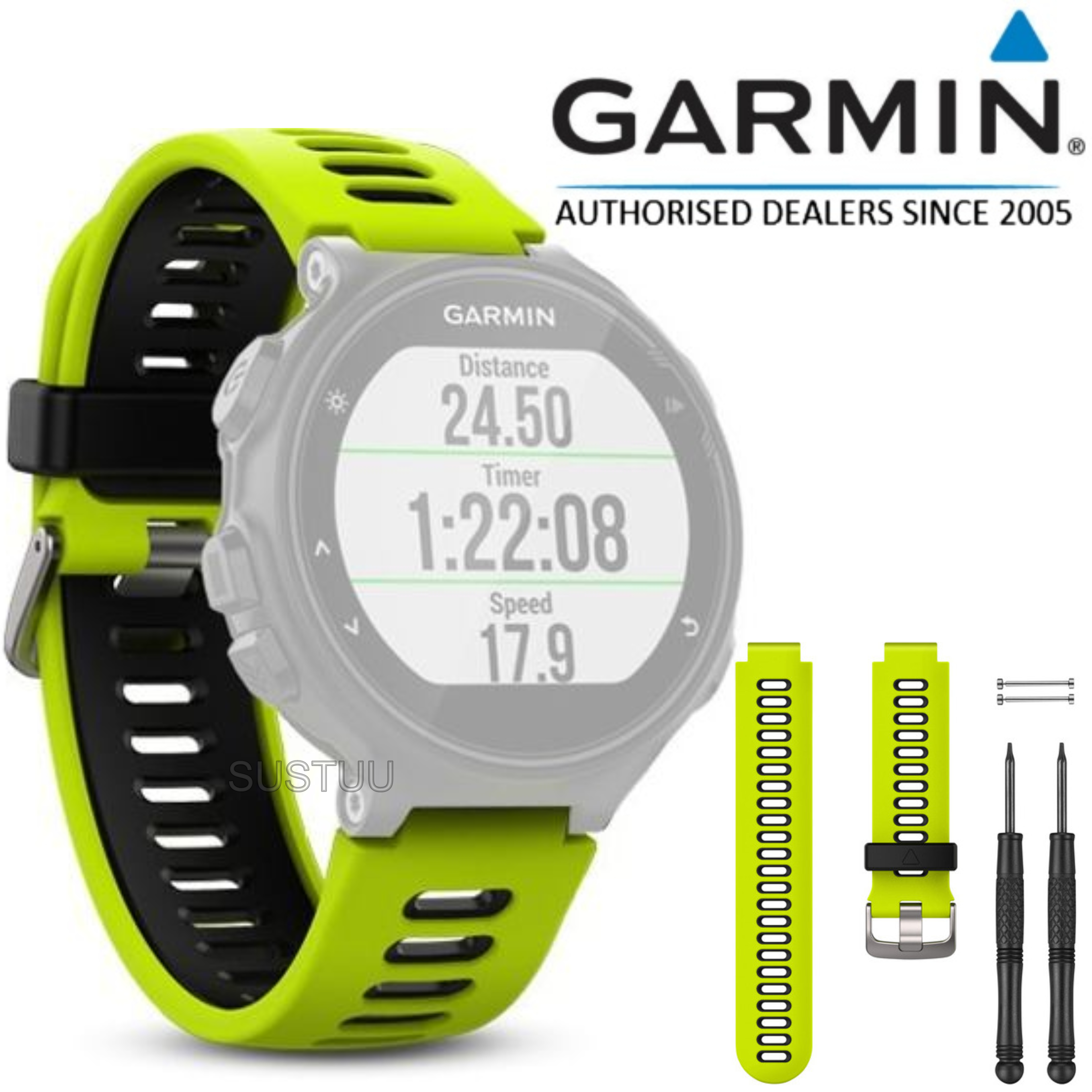 Garmin Replacement Watch Strap Band   For Forerunner 230 235 630 735XT   Force Yellow / Black