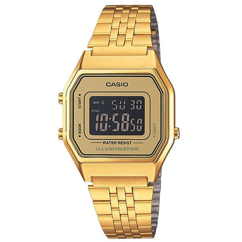 Casio LA-680WEGA-9BER Ladies Gold Plated Digital Watch / Gold Case / Black Dial / NEW /  Thumbnail 1