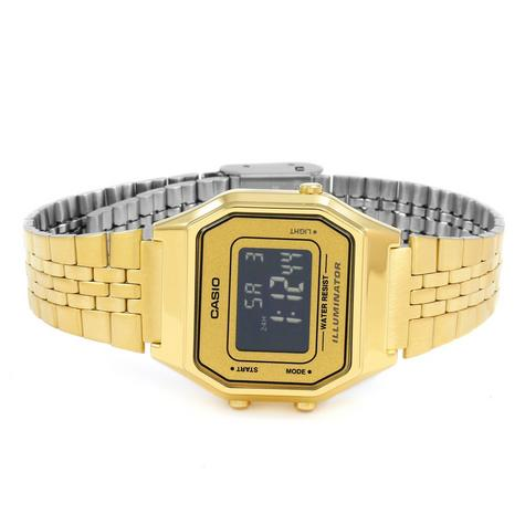 Casio LA-680WEGA-9BER Ladies Gold Plated Digital Watch / Gold Case / Black Dial / NEW /  Thumbnail 3