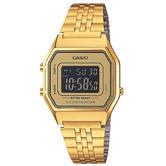 Casio LA-680WEGA-9BER Ladies Gold Plated Digital Watch / Gold Case / Black Dial / NEW /