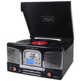 Groov-e GVTT03BK Music Centre Vinyl Record Player / CD / USB & FM Radio / - Black