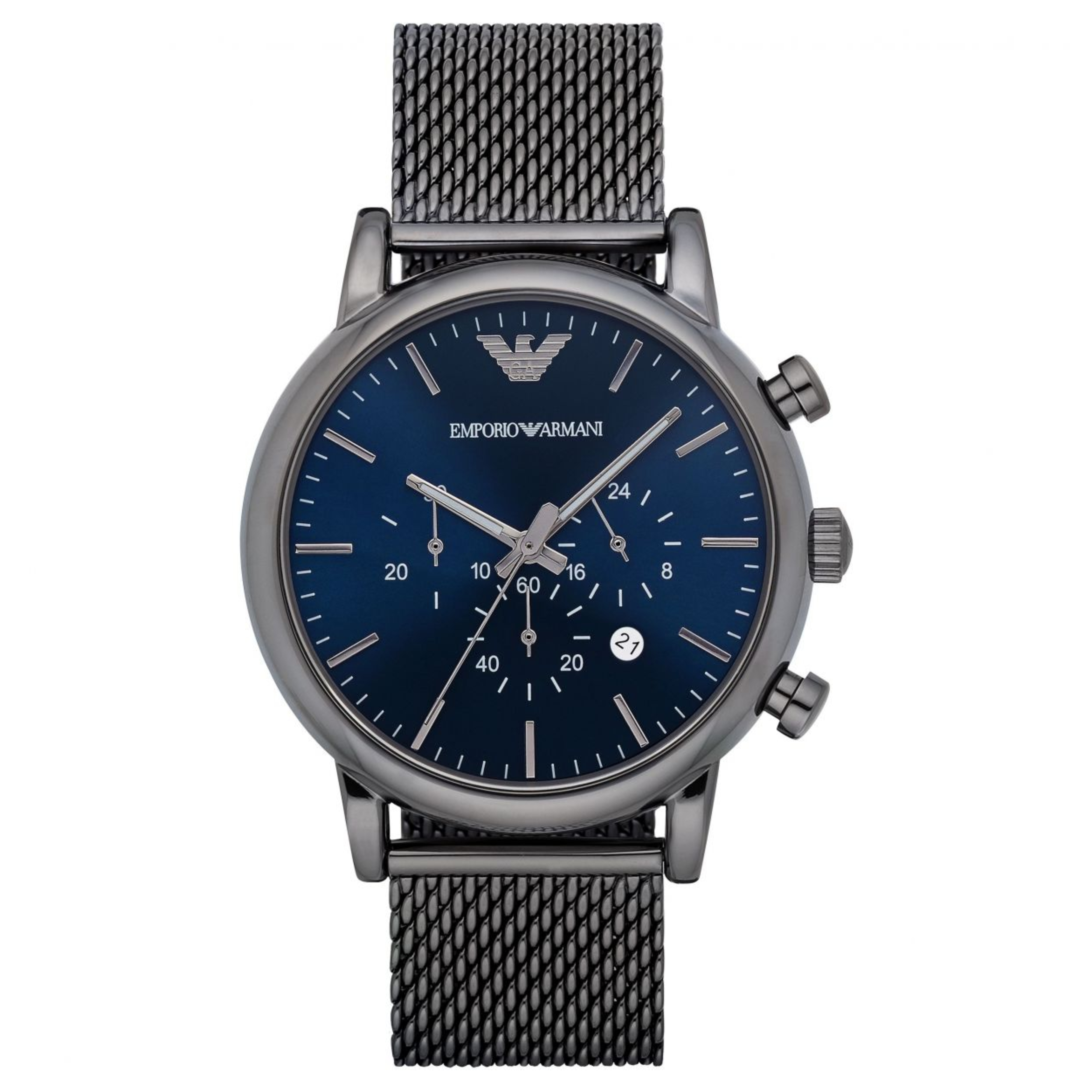 Emporio Armani Luigi Men's Watch?Chrono Dial ?Gunmetal Mesh Steel Strap?AR1979