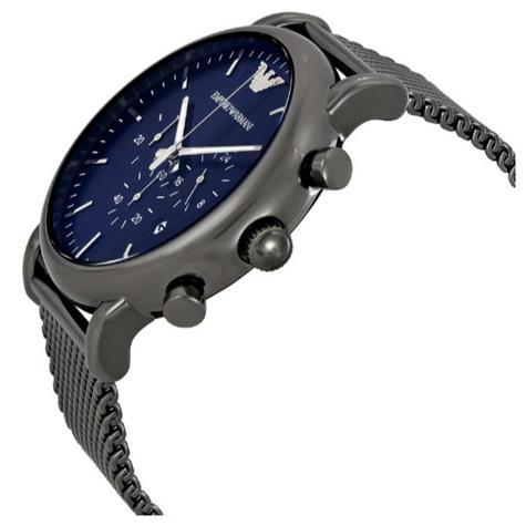 Emporio Armani Luigi Men's Watch?Chrono Dial ?Gunmetal Mesh Steel Strap?AR1979 Thumbnail 2