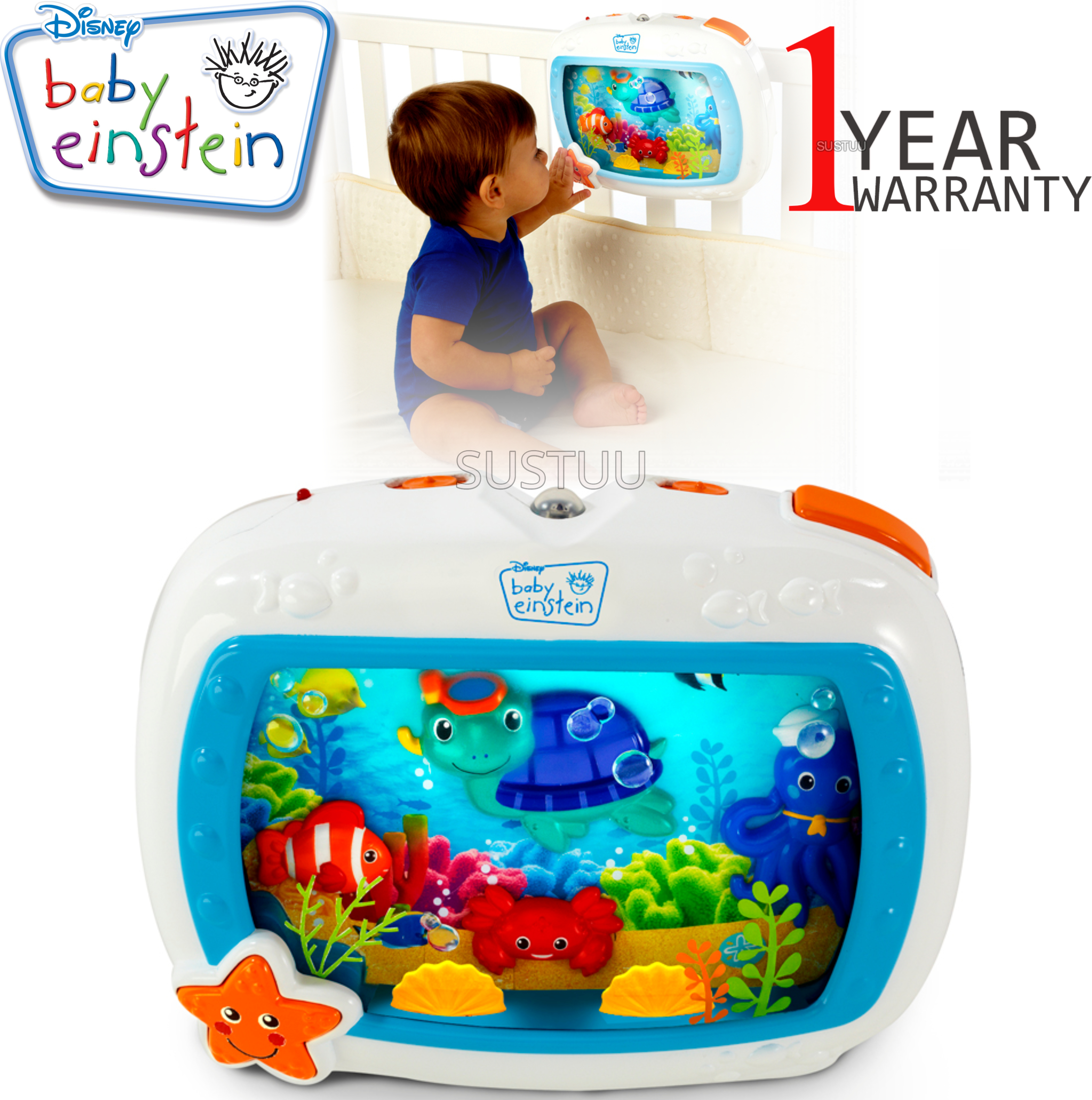 Baby Einstein Crib Sea Dream Soother | Baby/ Kid's Mobile Cot Toy | With  Music+Light | +0 Months