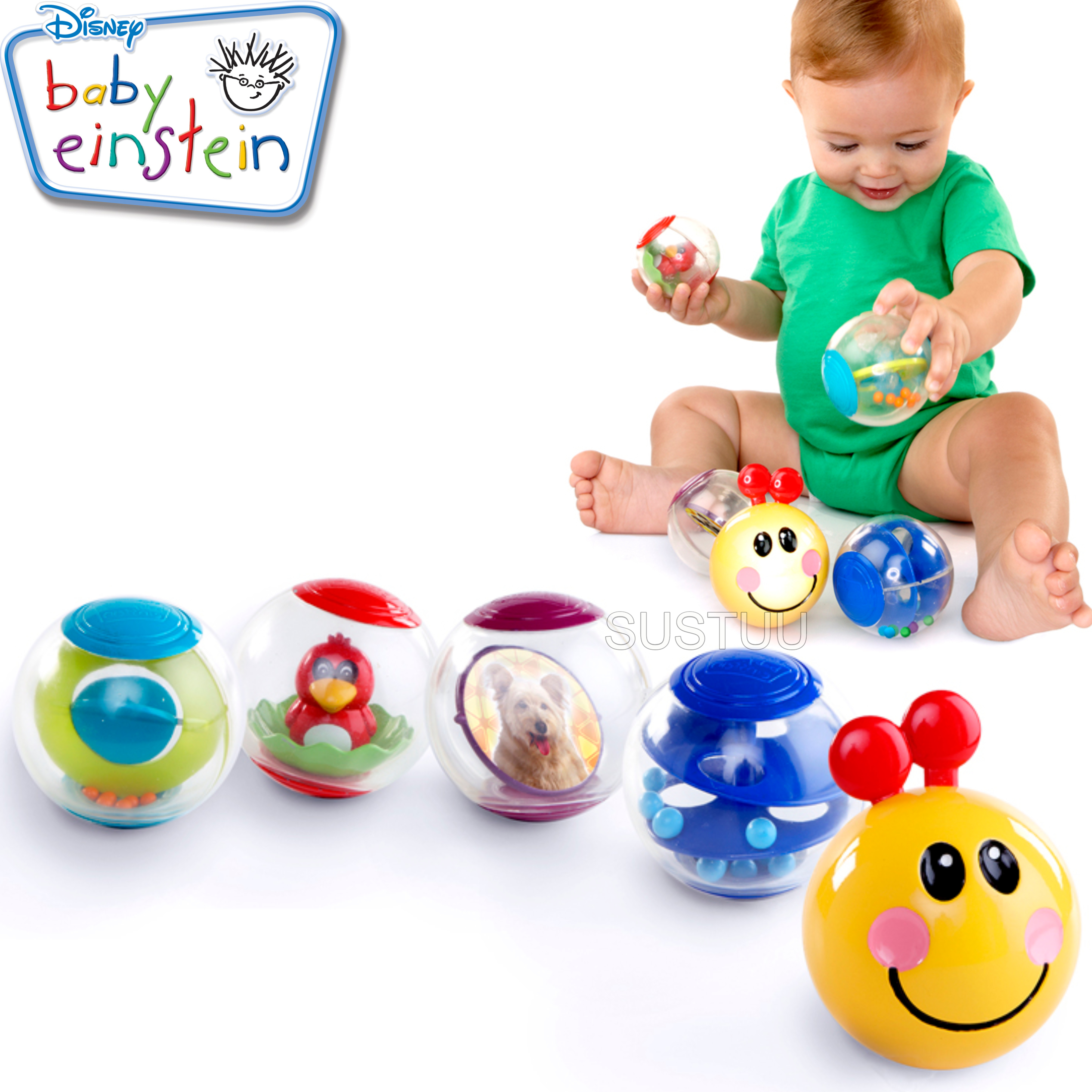 Baby Einstein Roller-Pillar Activity Balls | Kids Learning Toy With Mirror+Rattle
