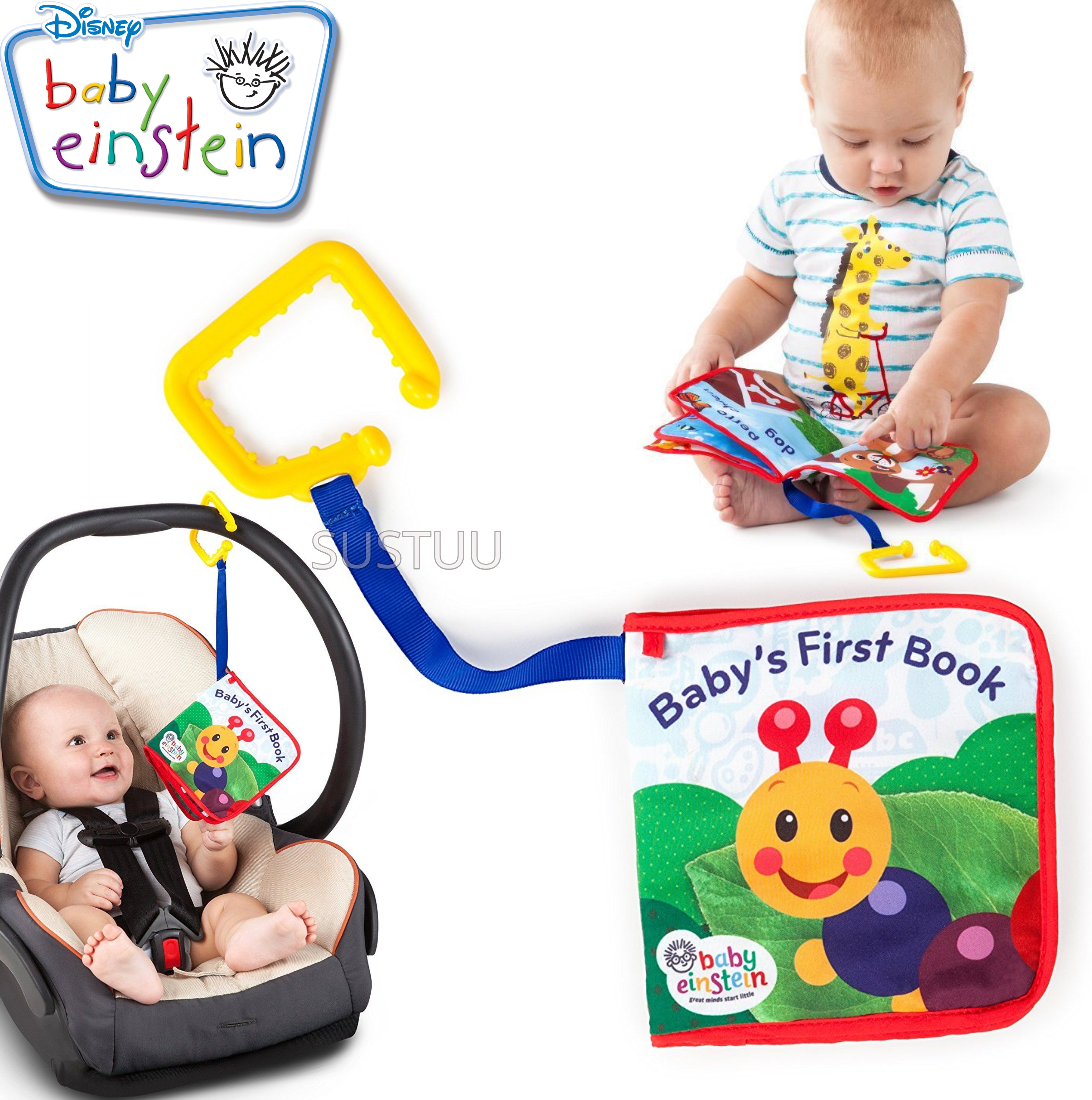 Baby Einstein Explore Book | Learning Activity/ Fun Soft Teething Toy | Clip on Pram