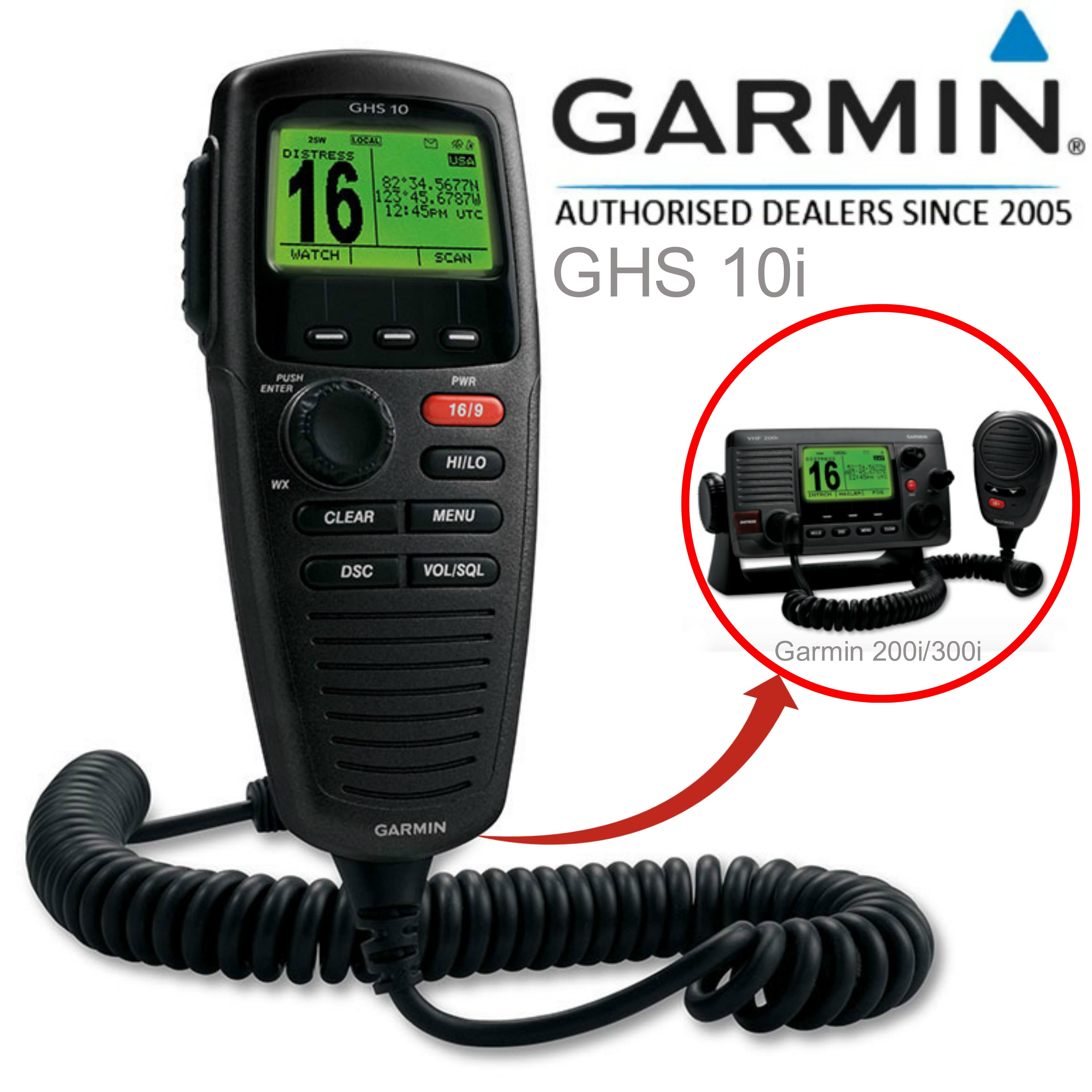 Garmin GHS?10 VHF Wired Mic - Black|LCD Handset|Full Function|DSC|IPX7|For VHF 200i/300i