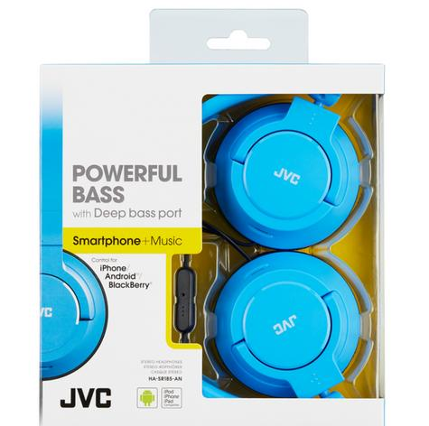 JVC HASR185AN|High Quality Headphone|Powerful Bass|2Way Foldable|Remote|Mic|Blue Thumbnail 2