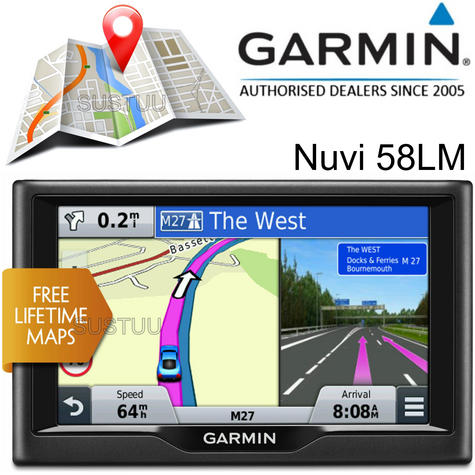 "Garmin Nuvi 58LM?5""  In Car GPS SatNav?Lifetime Full UK & Europe EU Map Updates Thumbnail 1"