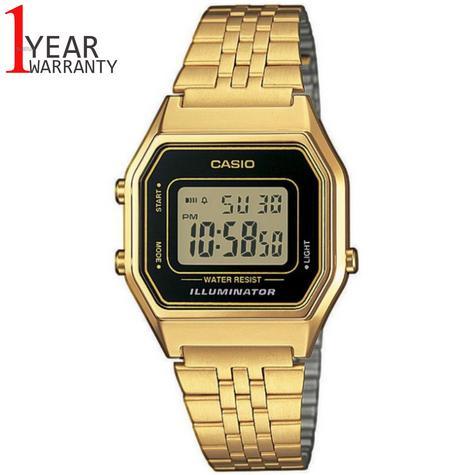 Casio LA680WEGA-1ER Ladies Digital Watch|Gold Plated|LED|Black Case|Clear Dial| Thumbnail 1