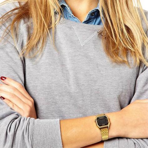 Casio LA680WEGA-1ER Ladies Digital Watch|Gold Plated|LED|Black Case|Clear Dial| Thumbnail 2