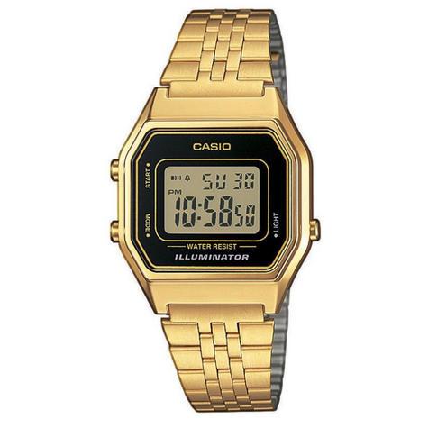 Casio LA680WEGA-1ER Ladies Digital Watch|Gold Plated|LED|Black Case|Clear Dial| Thumbnail 3