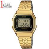 Casio LA680WEGA-1ER Ladies Digital Watch|Gold Plated|LED|Black Case|Clear Dial|