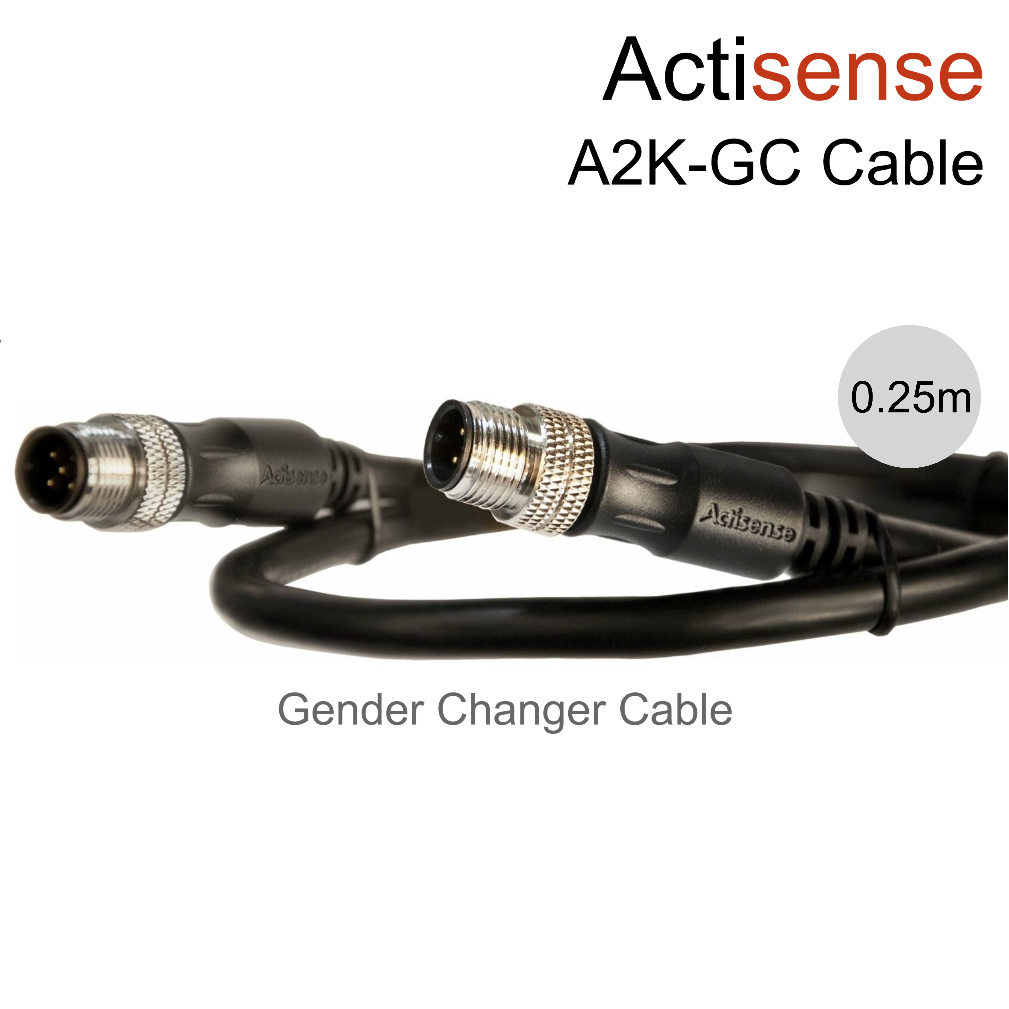 Actisense NMEA 2000 (Micro) Male to Male Gender Changer UL Certified Cable-0.25m