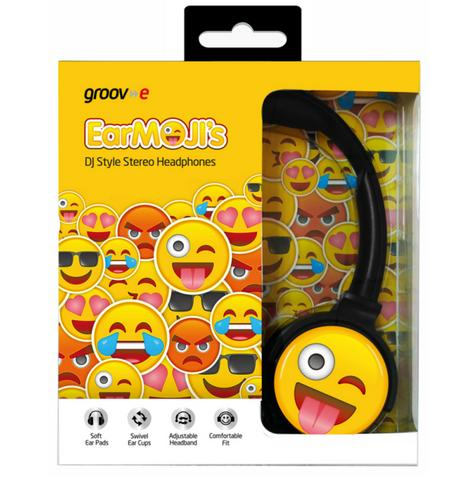Groov-e GVEMJ11 EarMOJI's Stereo Headphones Ear Cups Headband With Cheeky Face Thumbnail 3