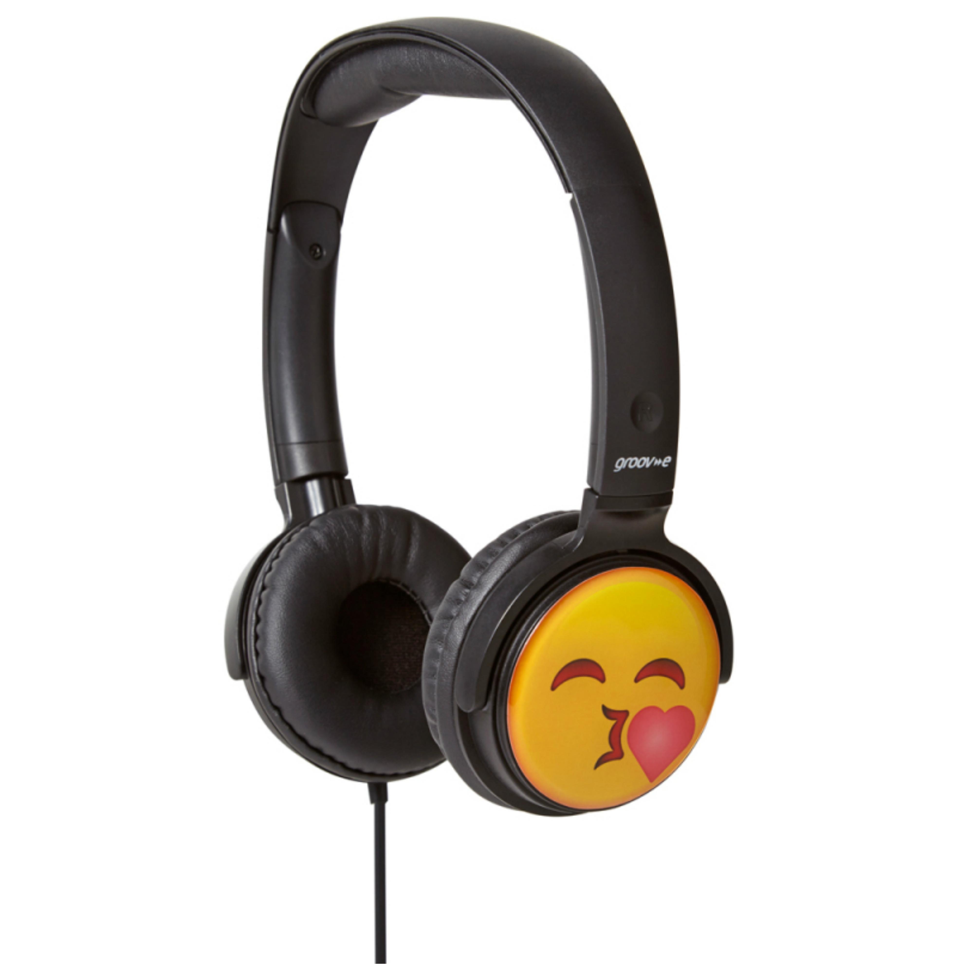 Groov-e GVEMJ14 EarMOJI's Stereo Headphone With Swivel Ear Cups & Kissing Face