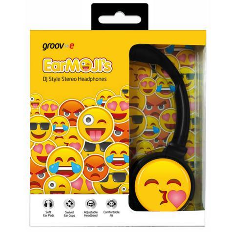 Groov-e GVEMJ14 EarMOJI's Stereo Headphone With Swivel Ear Cups & Kissing Face Thumbnail 3