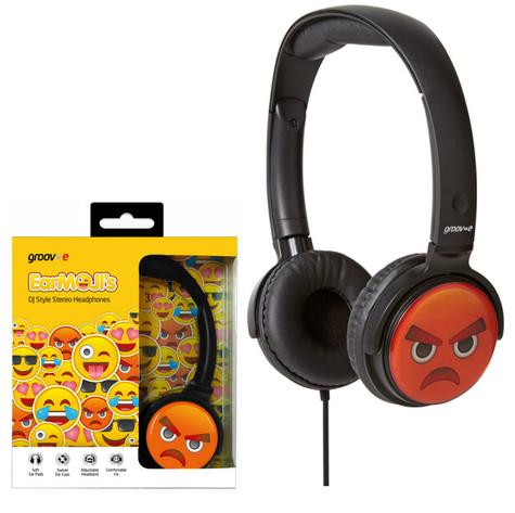 Groov-e GVEMJ16 EarMOJI's Stereo Headphones|Swivel Ear Cups|Angry Face|3.5mm| Thumbnail 1