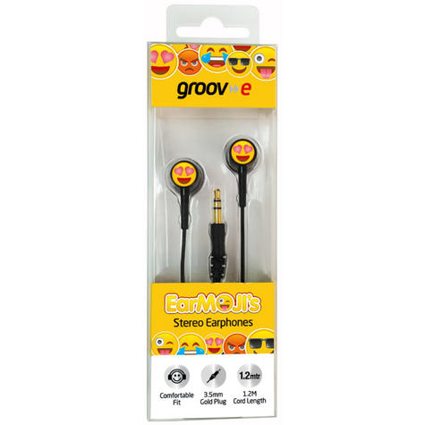 Groov-e GVEMJ23 EarMOJI's Stereo Earphones With Heart Eyes Face/ Spare Earbuds Thumbnail 2