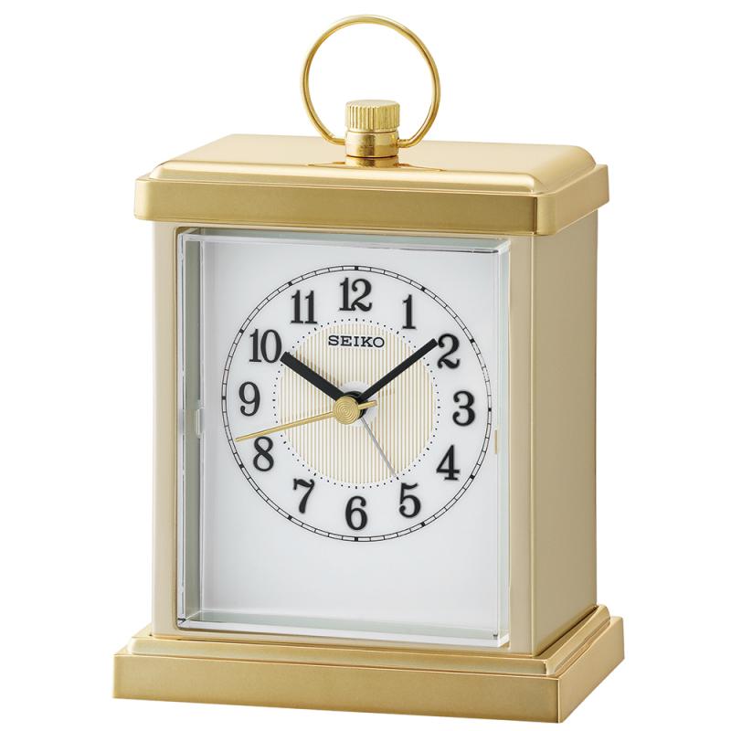 Seiko QHE148G Sweep Second Hand Beep Alarm Clock / Snooze / Rectangular Shape - Gold