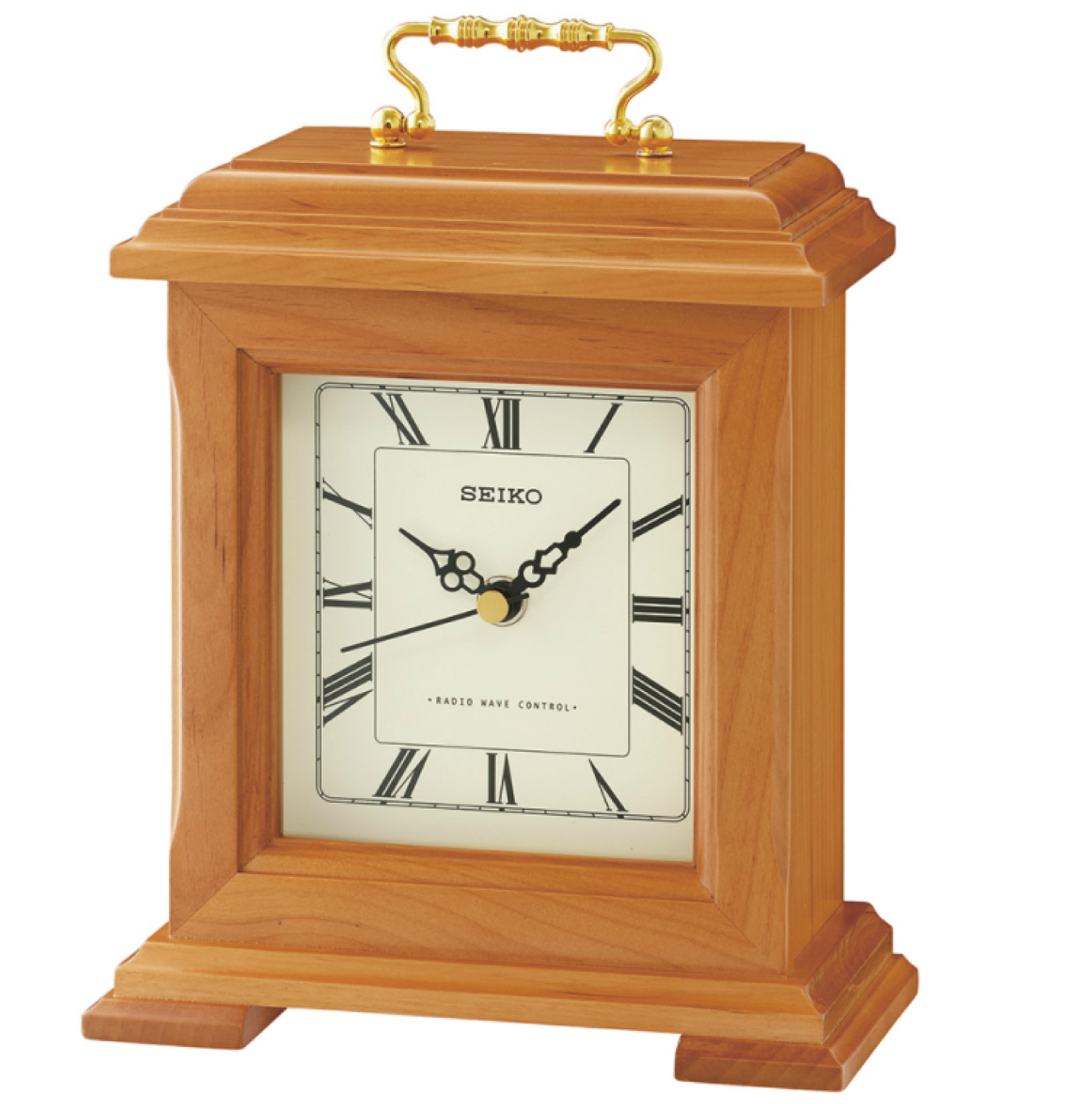 Seiko QXR304B Radio Controlled Wooden Mantel Clock|Roman Numerals|Light Brown|