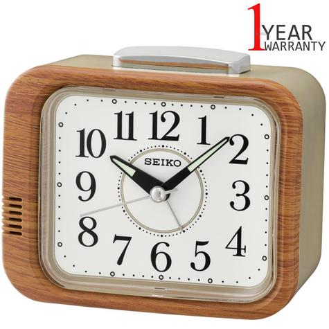 Seiko QHK046B Bell Alarm Clock With Quite Sweep Second Hand ? LumiBrite ? Brown/Gold Thumbnail 1
