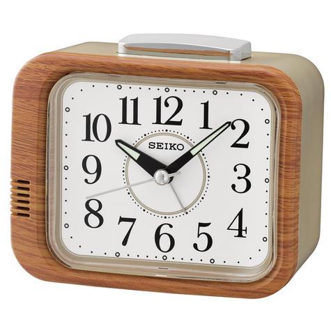 Seiko QHK046B Bell Alarm Clock With Quite Sweep Second Hand ? LumiBrite ? Brown/Gold Thumbnail 2