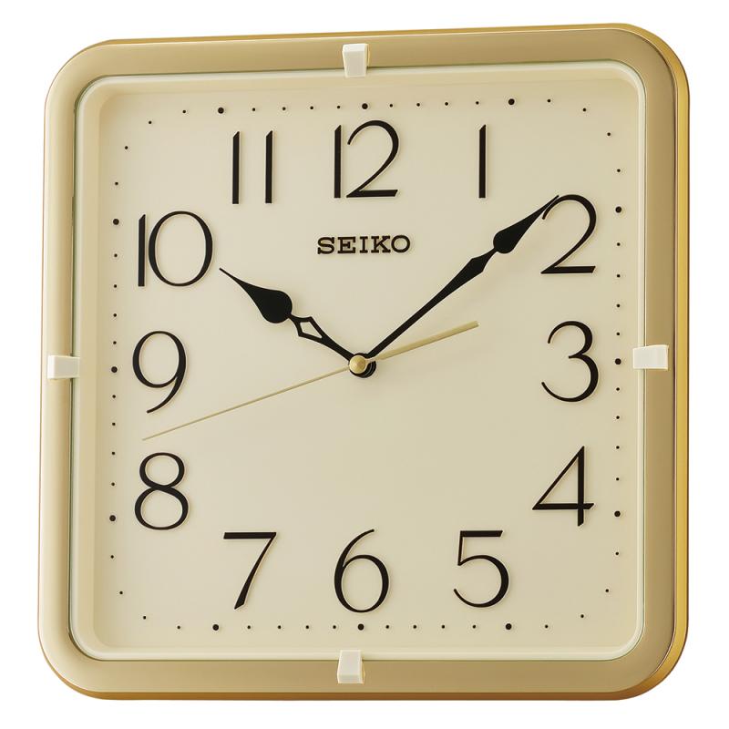 Seiko QXA685G Square Wall Clock|Gold Case|12 Hour Display|Movement Quartz|New|