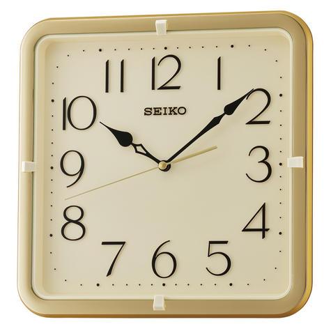 Seiko QXA685G Square Wall Clock|Gold Case|12 Hour Display|Movement Quartz|New| Thumbnail 1