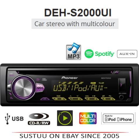 Pioneer DEH S2000Ui Car Stereo Player|Radio|CD|MP3|USB|Aux-In|iPod/iPhone Direct Thumbnail 1