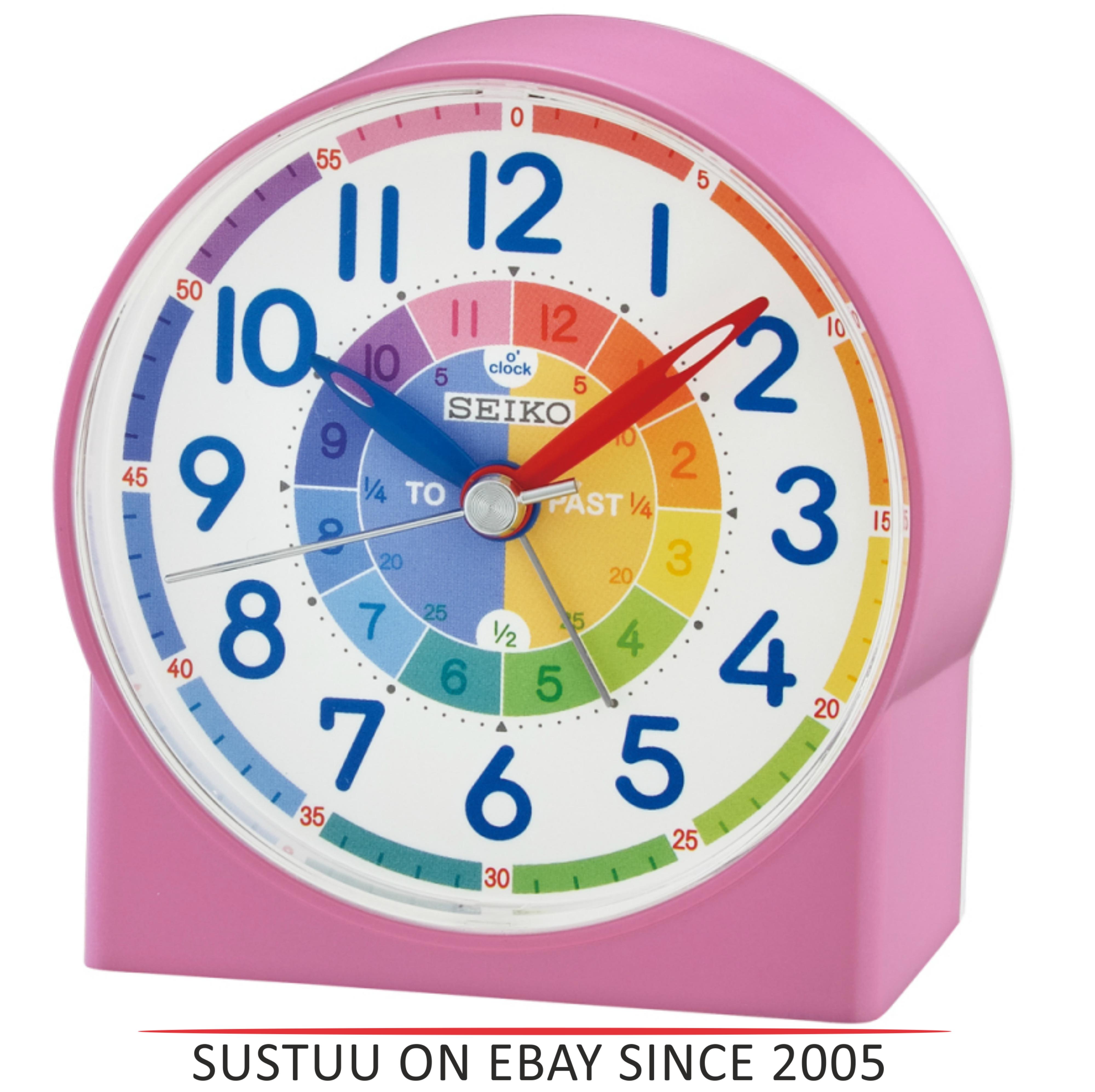 Seiko QHE153P Childrens Time Teaching Alarm Clock|Kids Bedroom Clock - Pink