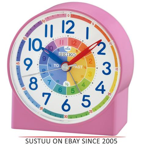Seiko QHE153P Childrens Time Teaching Alarm Clock|Kids Bedroom Clock - Pink Thumbnail 1