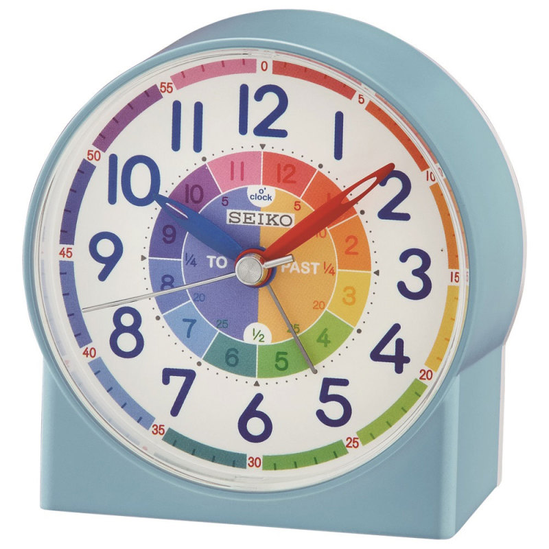 Seiko QHE153L Childrens Time Teaching Alarm Clock|Kids Bedroom Clock - Blue