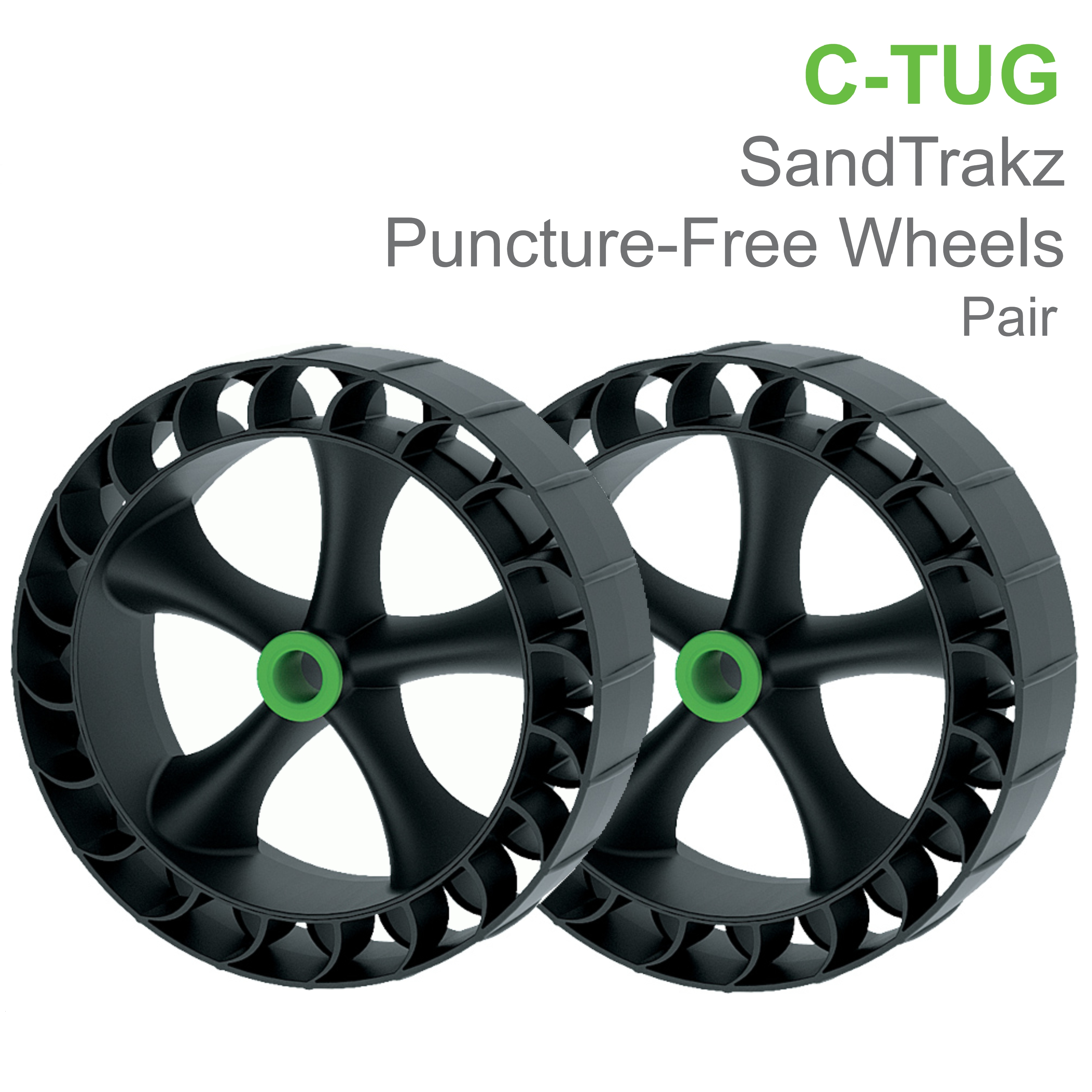C-Tug SandTrakz Puncture-Free Wheels- Pair|Use Long Tracks|For C-TUGs|50-0005-71