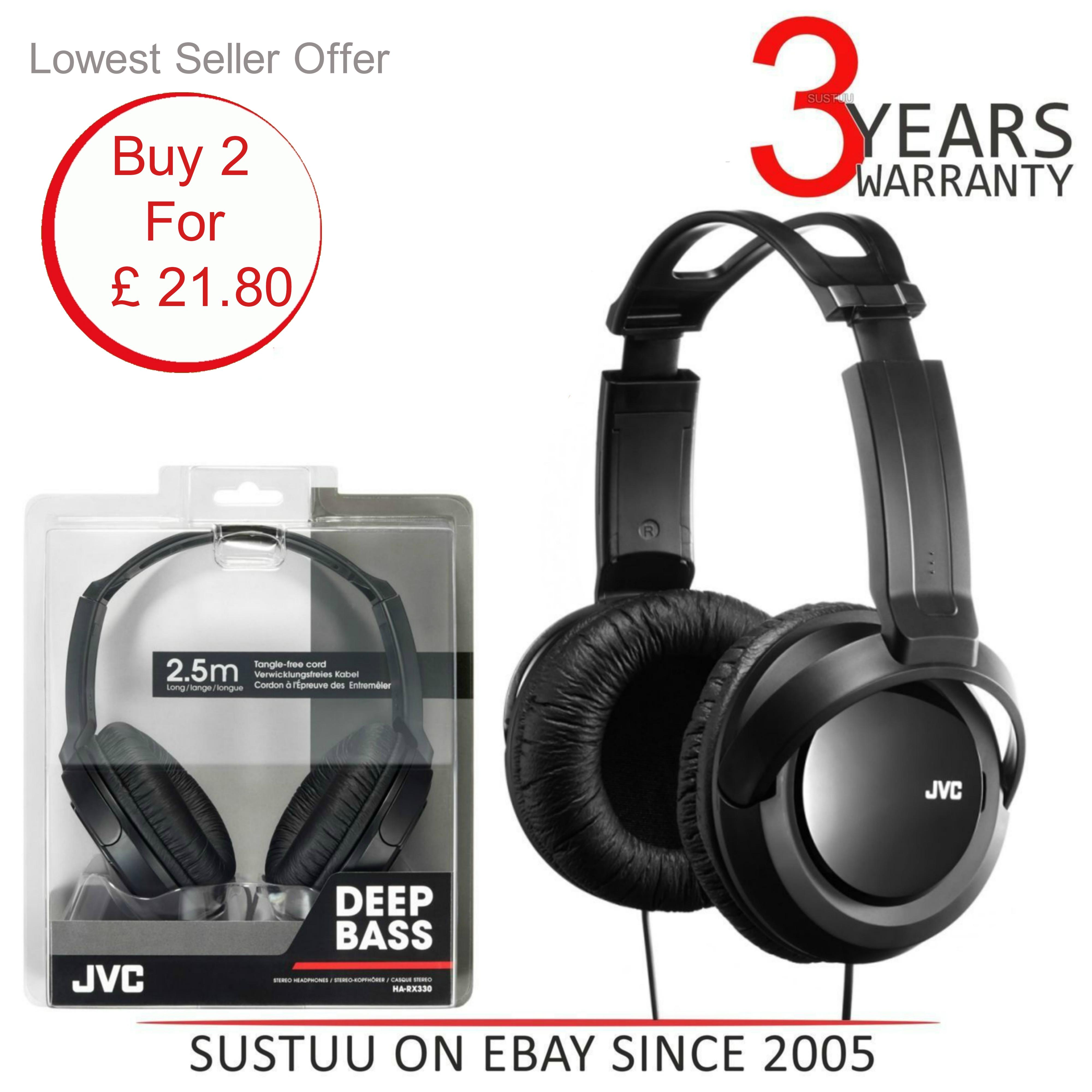 JVC HARX330|Over-Ear DJ Stereo Headphone|Deep Bass Sound|2.5mCord|Black x 2 Unit