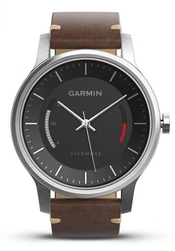 Garmin Vivomove|Analog Watch|Activity Tracker|Sleep Monitor|Brown Leather+Steel Thumbnail 2