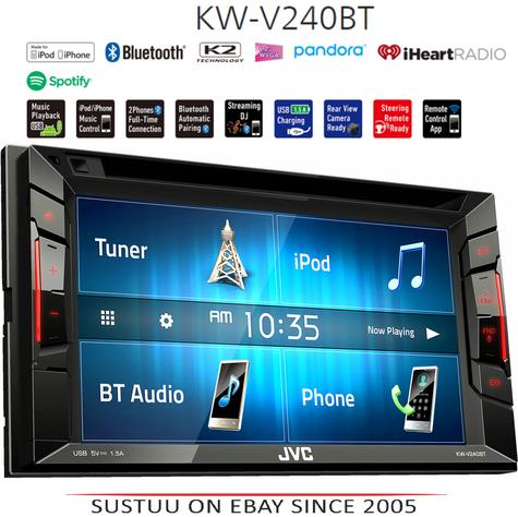 "JVC KW V240BT 6.2"" Clear Touch Monitor/Bluetooth/Usb/Aux/2 Din Multimedia Player Thumbnail 1"