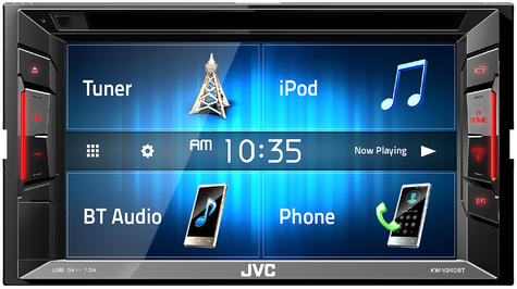 "JVC KW V240BT 6.2"" Clear Touch Monitor/Bluetooth/Usb/Aux/2 Din Multimedia Player Thumbnail 4"