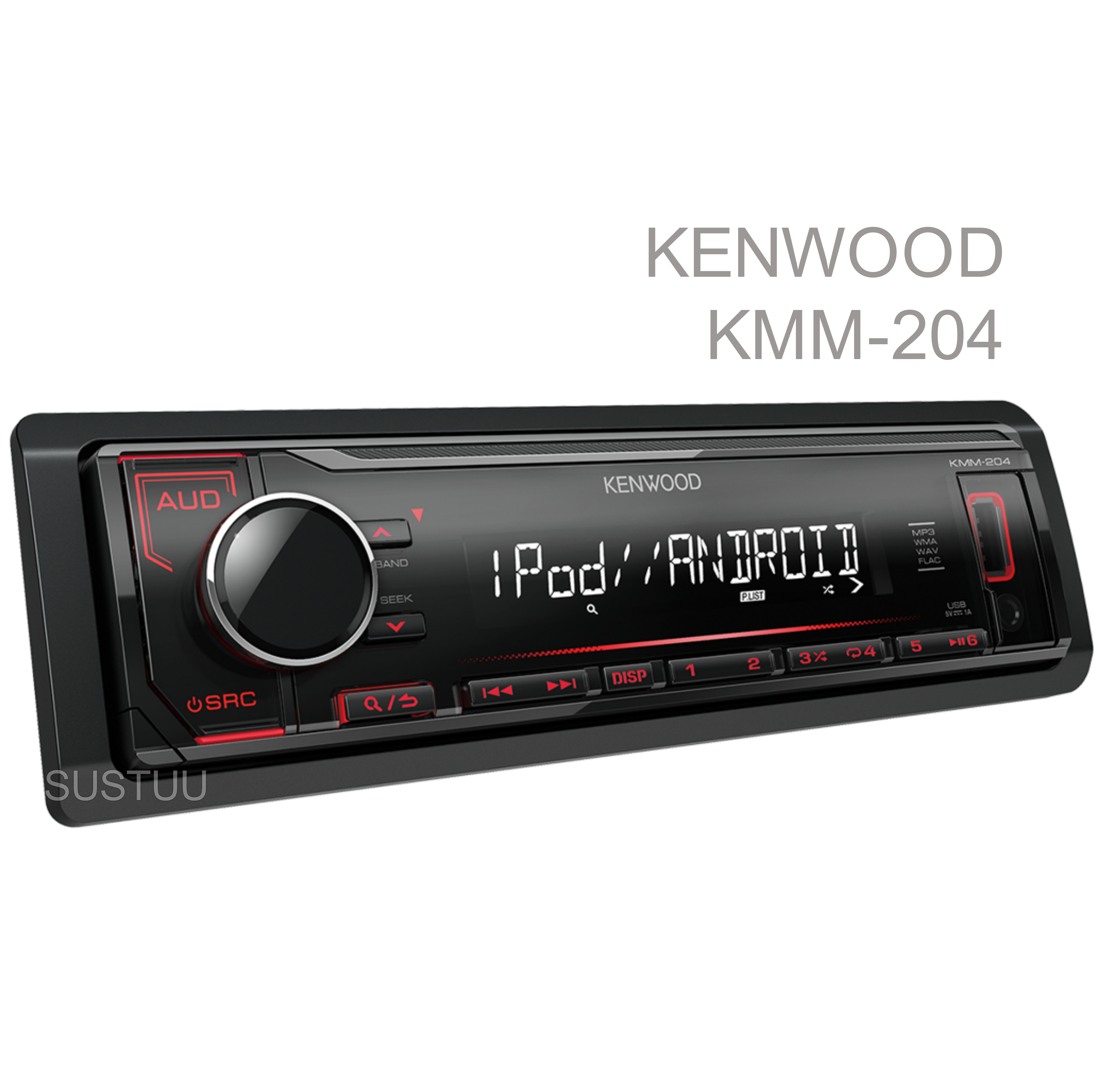 Kenwood Car Media Stereo|Mechless Radio|USB|AUX|iPod-iPhone-Android|Red Illumination