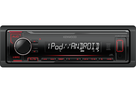 Kenwood Car Media Stereo|Mechless Radio|USB|AUX|iPod-iPhone-Android|Red Illumination Thumbnail 2